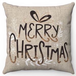 "Merry Christmas 16"" Or 18"" Square Throw Pillow Cover"