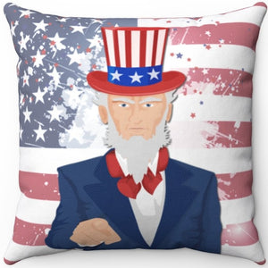 "Patriotic Uncle Sam 16"" 18"" Or 20"" Square Throw Pillow Cover"