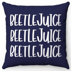 "Navy & White Beetlejuice 18"" Or 20"" Square Throw Pillow Cover"