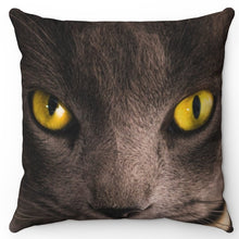 "Load image into Gallery viewer, Cat With Yellow Eyes 18"" x 18"" Throw Pillow Cover"