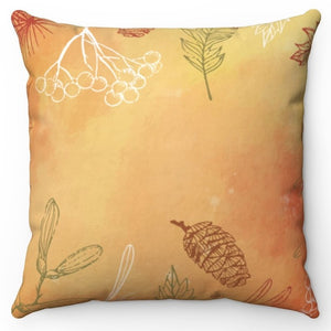 "Hand Drawn Leaves 20"" x 20"" Throw Pillow Cover"