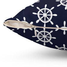 "Load image into Gallery viewer, Nautical Helm Patterned 16"" 18"" Or 20"" Square Throw Pillow Cover"