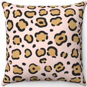 "Leopard Pastel Animal Print 16"" 18"" Or 20"" Square Throw Pillow Cover"