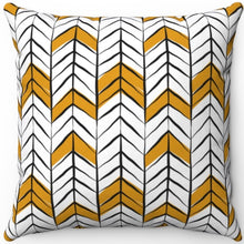 "Load image into Gallery viewer, Black White & Gold Boho Arrow Pattern 16"" 18"" Or 20"" Square Throw Pillow Cover"