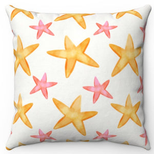 "Watercolor Starfish 18"" Or 20"" Square Throw Pillow Cover"