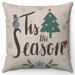 "Tis The Season 16"" Or 18"" Square Throw Pillow Cover"