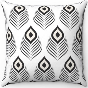 "Mudcloth Peacock Design 16"" 18"" Or 20"" Square Throw Pillow Cover"
