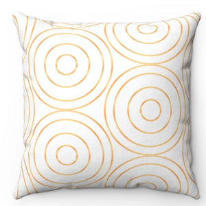 "Golden Circles 18"" x 18"" Throw Pillow Cover"