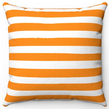 "Load image into Gallery viewer, Dark Orange Texture Stripes 16"" Or 18"" Square Throw Pillow Cover"