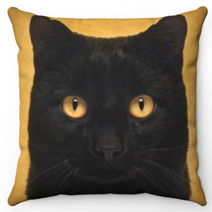 "Black Cat On Grunge 18"" x 18"" Throw Pillow Cover"