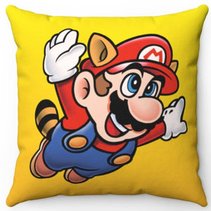 "Super Mario Bros 3 Racoon Mario 18"" x 18"" Square Throw Pillow"