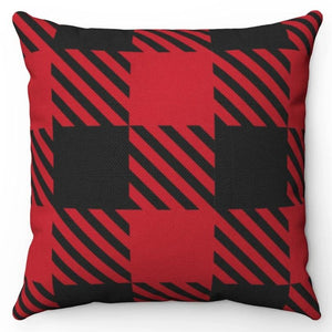 "Black On Red Buffalo Plaid 18"" Or 20"" Square Throw Pillow Cover"