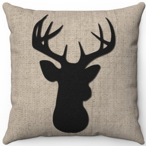 "Deer Head Silhouette #Five 16"" 18"" Or 20"" Square Throw Pillow Cover"