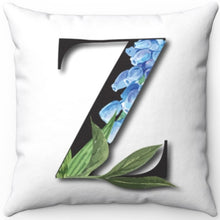 "Load image into Gallery viewer, Floral Z Monogrammed 18"" x 18"" Square Throw Pillow"