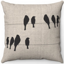 "Load image into Gallery viewer, Birds Resting On A Wire 16"" 18"" Or 20"" Square Throw Pillow Cover"