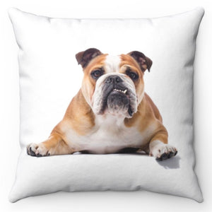 "Posing Bulldog 18"" x 18"" Throw Pillow Cover"