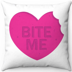 "Bite Me Pink Candy Piece 18"" x 18"" Throw Pillow Cover"