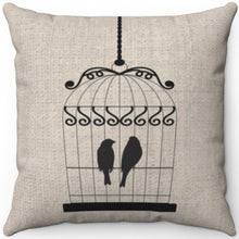 "Load image into Gallery viewer, Two Black Birds In A Cage 16"" 18"" Or 20"" Square Throw Pillow Cover"