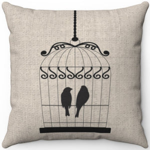 "Two Black Birds In A Cage 16"" 18"" Or 20"" Square Throw Pillow Cover"