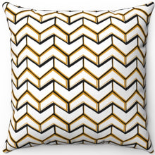 "Load image into Gallery viewer, Fancy White & Gold Boho Arrows 16"" 18"" Or 20"" Square Throw Pillow Cover"