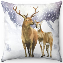 "Load image into Gallery viewer, Snowy Mountain Wildlife 16"" 18"" Or 20"" Square Throw Pillow Cover"