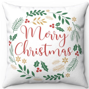 "Merry Christmas Wreath 18"" x 18"" Square Throw Pillow"