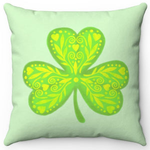 "Three Leaf Clover 18"" Or 20"" Square Throw Pillow Cover"