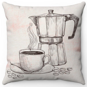 "Coffee Time 18"" Or 20"" Square Throw Pillow Cover"