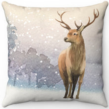 "Load image into Gallery viewer, Deer In Winter 16"" 18"" Or 20"" Square Throw Pillow Cover"