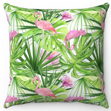 "Load image into Gallery viewer, Pink Flamingo And Chameleon 18"" Or 20"" Square Throw Pillow Cover"