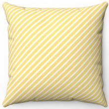 "Load image into Gallery viewer, Diagonal Stripe Pattern In Golden Glow 16"" Or 18"" Square Throw Pillow Cover"