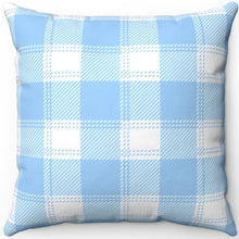 "Load image into Gallery viewer, Blue & White Easter Plaid 16"" Or 18"" Square Throw Pillow"
