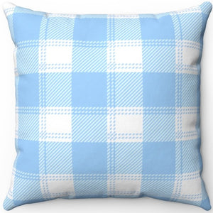 "Blue & White Easter Plaid 16"" Or 18"" Square Throw Pillow"