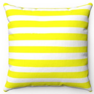 "Bright Yellow Texture Stripes 16"" Or 18"" Square Throw Pillow Cover"