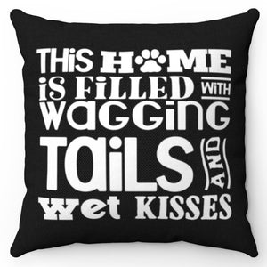 "Wagging Tails Black & White 18"" x 18"" Throw Pillow Cover"