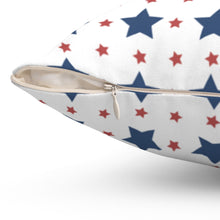 "Load image into Gallery viewer, Patriotic Red & Blue Star Pattern 16"" 18"" Or 20"" Square Throw Pillow Cover"