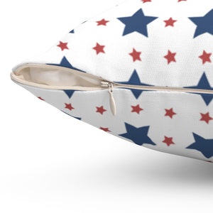 "Patriotic Red & Blue Star Pattern 16"" 18"" Or 20"" Square Throw Pillow Cover"