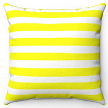 "Load image into Gallery viewer, Bright Yellow Texture Stripes 16"" Or 18"" Square Throw Pillow Cover"