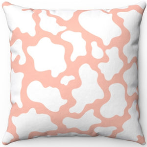 "Pink And White Cow Print 16"" 18"" Or 20"" Square Throw Pillow Cover"