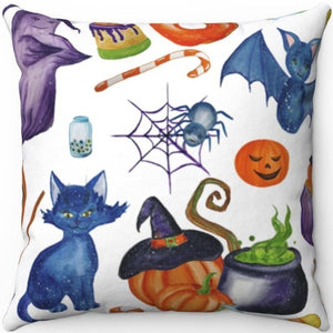 "Halloween Watercolor 18"" x 18"" Throw Pillow"