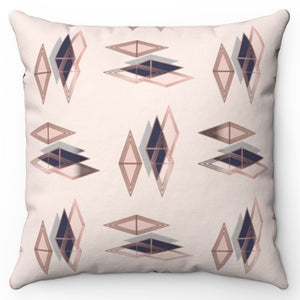 "Rose Pink Gold Diamond 20"" x 20"" Throw Pillow Cover"