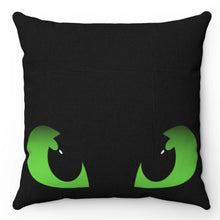 "Load image into Gallery viewer, Dragon Eyes Black & Green 18"" x 18"" Throw Pillow"