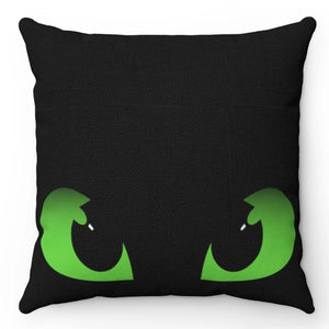 "Dragon Eyes Black & Green 18"" x 18"" Throw Pillow"