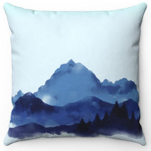 "Load image into Gallery viewer, Mountains In Watercolor 18"" Or 20"" Square Throw Pillow Cover"