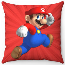 "Load image into Gallery viewer, Super Mario Starburst 18"" x 18"" Square Throw Pillow"