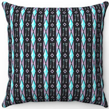 "Load image into Gallery viewer, Watercolor Boho Arrows And Stained Glass Pattern 16"" 18"" Or 20"" Square Throw Pillow Cover"
