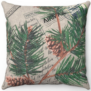 "Vintage Love Letter & Pine Cones 16"" 18"" Or 20"" Square Throw Pillow Cover"