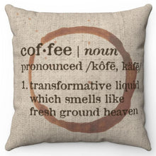 "Load image into Gallery viewer, Coffee Definition 16"" Or 18"" Square Throw Pillow"