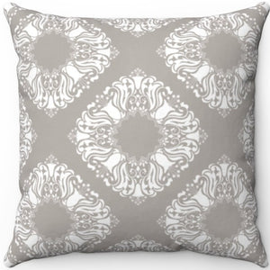 "Delicate Grey & White Filigree Pattern #Two 16"" 18"" Or 20"" Square Throw Pillow Cover"