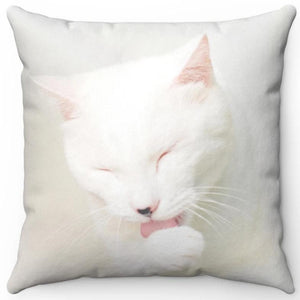 "Precious White Grooming Cat 16"" Or 18"" Square Throw Pillow"
